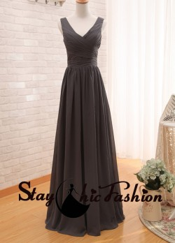 Chocolate V Neck Ruched Top Long Low Back Chiffon Bridesmaid Dress Sale [sc846] – $120.00  ...