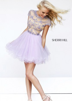 Lavender Nude Beaded Illusion Top Short Cocktail Dress [Sherri Hill 21304] – $182.00 : Hot ...