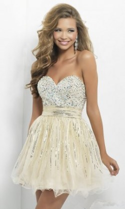 Short Champagne Sequins Blush 9665 Babydoll Dresses 2014 [cheap short prom dresses] – $160 ...