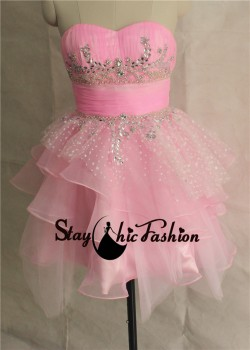 Staychicfashion Pink Pleated Strapless Sequined Layered Homecoming Dress 2014 [sc40] – $12 ...