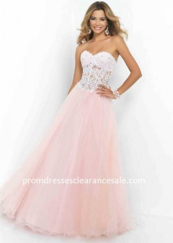 Petal Pink Sheer Midriff Lace Beaded Corset-style Long Prom Dress Cheap Online 35Y27M