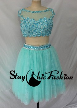 Staychicfashion Cute Aqua Short Two Piece Beaded Mesh Scoop Neck Lace Applique Tulle Party Dress ...