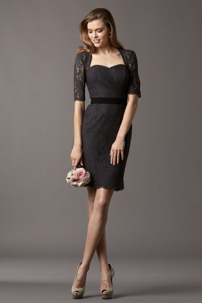 US$131.99 Black Ruched Half Sleeves Column Lace Sweetheart Knee Length
