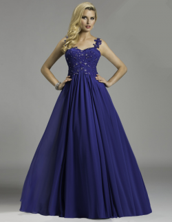 US$171.99 2015 One Shoulder Appliques Blue Chiffon Tulle Ruched Floor Length