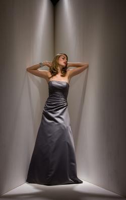 US$162.99 2015 Sleeveless Satin Zipper Strapless Floor Length A-line