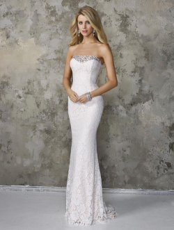 US$159.99 2016 White Sheath Strapless Sleeveless Crystals Zipper Lace Floor Length
