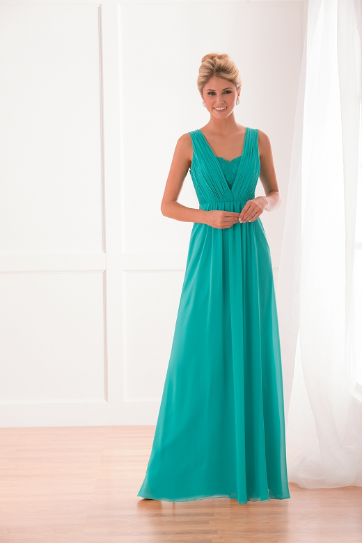 US$140.99 2015 Zipper Up V-neck V-back Sleeveless Chiffon Floor Length