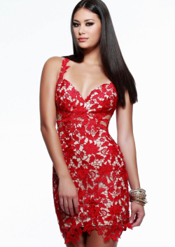 US$137.99 2015 Sheath Short Length Straps Criss Cross Appliques Red Chiffon
