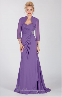 US$160.99 2015 Sweetheart Purple Floor Length Zipper Chiffon Sleeveless