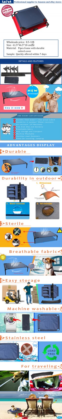 Hot sale outdoor light foldable elevated dog bed
