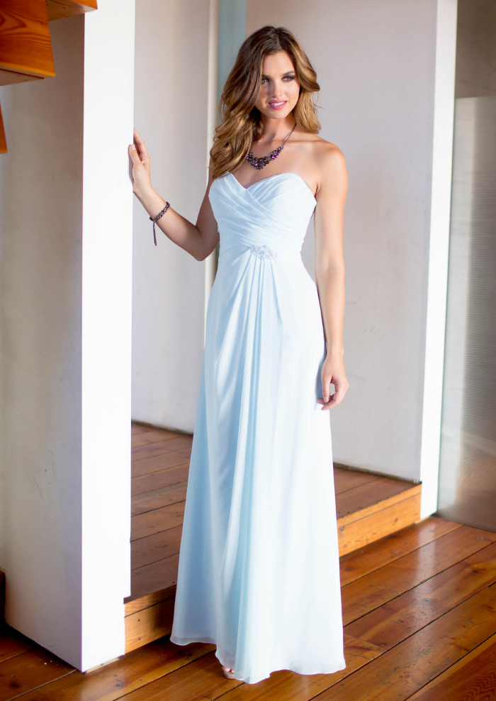 US$133.99 2015 Floor Length Chiffon Ruched Blue Sleeveless Sweetheart