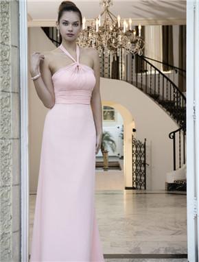 US$141.99 2016 Ruched Halter Pink Zipper Floor Length Chiffon A-line Sleeveless