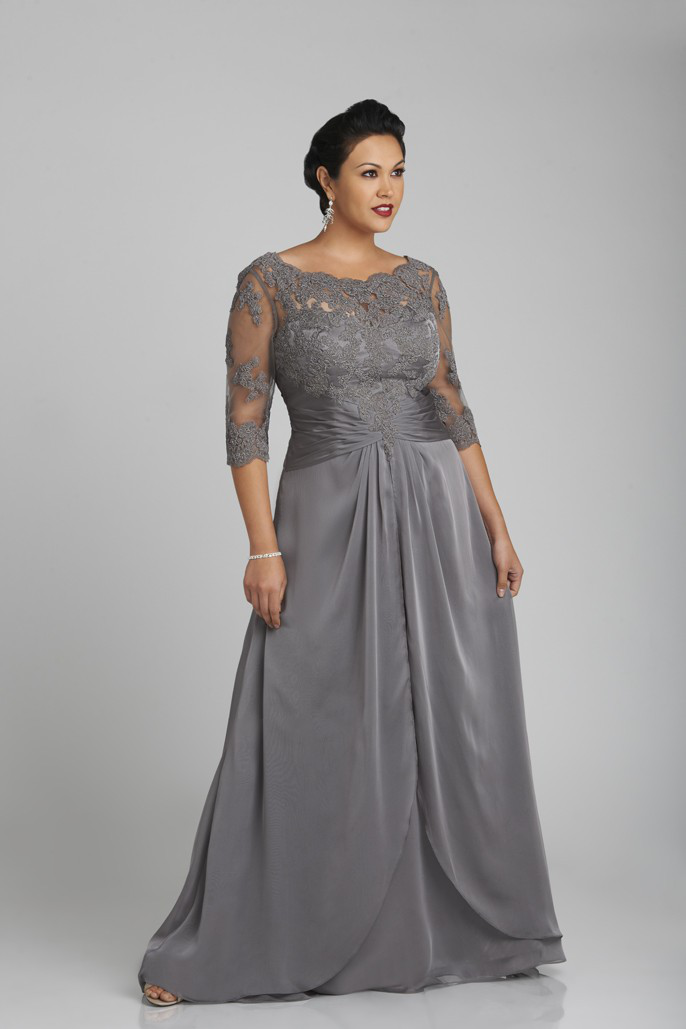 US$168.99 2015 Scoop V-back Zipper Grey Chiffon Tulle Appliques 3/4 Length Sleeves Floor Length