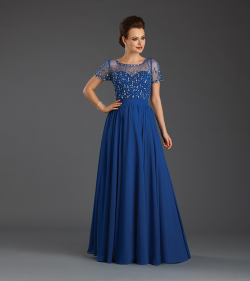 US$158.99 2015 Scoop Zipper V-back Chiffon Tulle Blue White Crystals Short Sleeves Floor Length