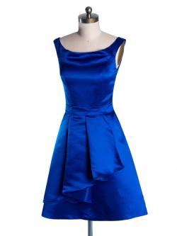 US$163.99 2015 Sleeveless Blue Ruched Satin Scoop Zipper Short Length