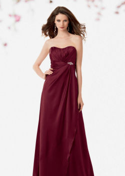US$138.99 2015 Strapless Sleeveless Burgundy Ruched Chiffon Floor Length