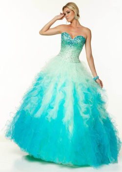 US$181.99 2015 Sweetheart Lace Up Blue Pink Sleeveless Beading Tulle Floor Length Ball Gown