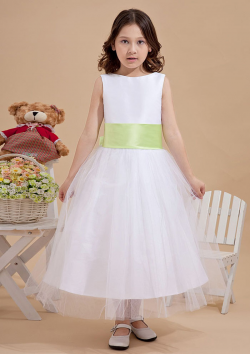 US$103.99 2015 Tulle Straps Bow Flower White Ribbon Zipper Sleeveless Ruched Tea Length
