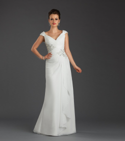 US$158.99 2015 V-neck Cap Sleeves Lace Up Ruched Crystals Chiffon White Green Floor Length