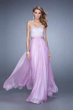 US$147.99 2015 Strapless Beading Ruched Floor Length Chiffon Zipper Sleeveless Pink Lilac
