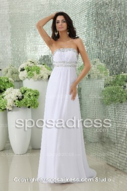 Airy White Straples Chiffon Long Sequined Cheap Prom Dress – Sposadress.com