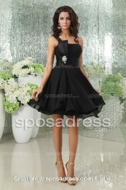 Black Formal A-line Chiffon Short One Shoulder Cocktail Dress – Sposadress.com