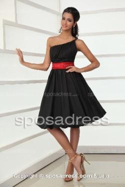 Enchanting Black One Shoulder A-line Cocktail Dress With Red Sashes – Sposadress.com