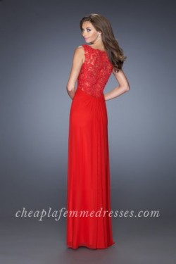 Long Front Slit Red Long V-neck Prom Dresses by La Femme 20142 [La Femme 20142] – $195.00  ...