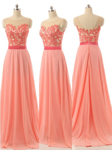Scoop Neck Chiffon Appliques Lace Sweep Train Elegant Bridesmaid Dresses in UK