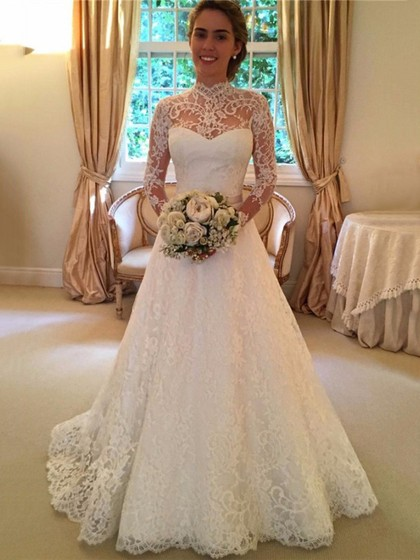 Open Back A-line High Neck Lace Sweep Train Sashes / Ribbons Long Sleeve Wedding Dresses in UK