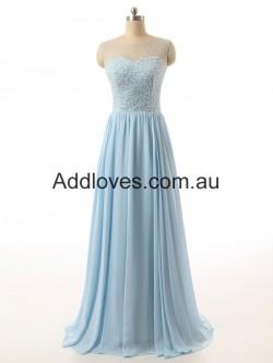 Fabulous A-Line Floor-Length Blue Chiffon Prom Dresses at addloves.com.au