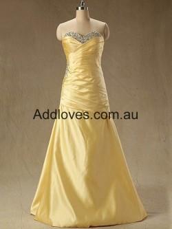 Fantastic A-Line Floor-Length Gold Chiffon Prom Dresses at addloves.com.au