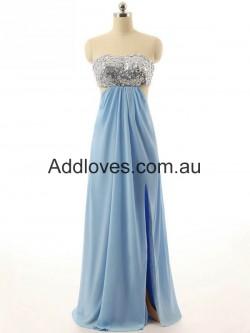 Glorious A-Line Long Blue Chiffon Prom Dresses at addloves.com.au