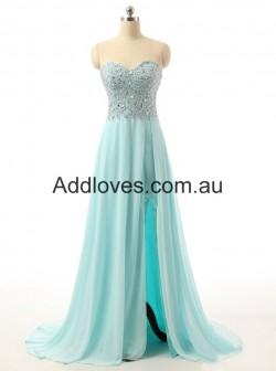 Simple A-Line Floor-Length Sweetheart Blue Chiffon Prom Dresses at addloves.com.au