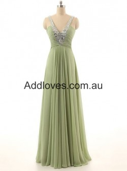 Simple A-Line Green V-neck Straps Long Chiffon Prom Dresses at addloves.com.au