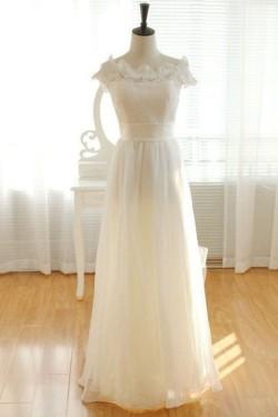 A-line Bateau Floor Length Chiffon Lace Beach Bridal Wear [VIVIDRESS1171] – R2158 : vividr ...