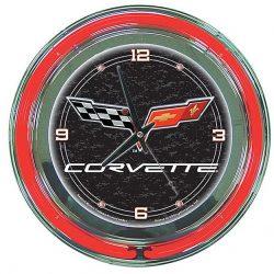 Trademark Corvette C6 Neon Clock – 14 inch Diameter – Black