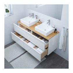 "GODMORGON/TOLKEN / TÖRNVIKEN Vanity, countertop and 17 3/4"" sink – bamboo, high gloss ..."