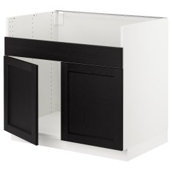 SEKTION Base cabinet f/DOMSJÖ 2 bowl sink – white, Lerh black stained – IKEA