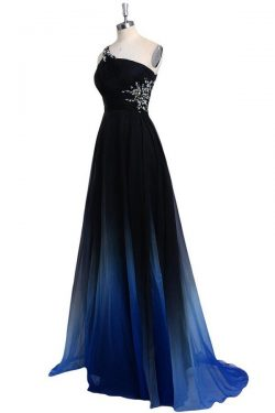 A Line Sweep Train One Shoulder Sleeveless Open Back Beading Prom Dress – Ombreprom
