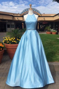 Blue A Line Floor Length Halter Sleeveless Beading Belt Prom Dress,Party Dress P494