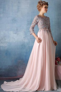 Pink A Line Sweep Train Jewel Neck 3/4 Sleeve Appliques Cheap Prom Dress – Ombreprom