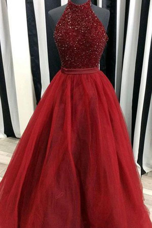 Shop Ball Gown High Neck Floor-Length Beading Long Prom Dress on Sale – Ombreprom