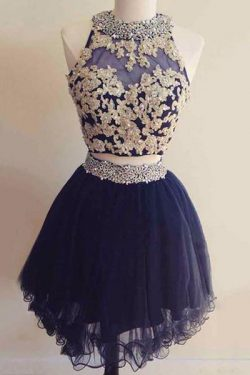 Shop Navy Blue Two Pieces Lace Up Beading Homecoming Dresses On Sale – Ombreprom