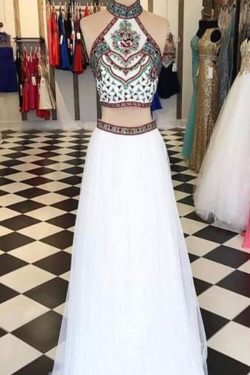 Shop Two Piece A-Line Halter Sleeveless Beading Prom Dresses on Sale – Ombreprom