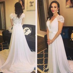White A Line Court Train V Neck Capped Sleeve Cheap Wedding Dress – Ombreprom
