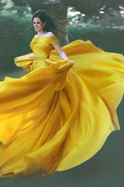 Yellow A Line Court Train Off Shoulder Ruffles Long Prom Dress – Ombreprom