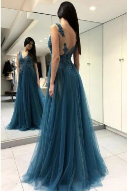 Blue Scoop Appliqued Sexy Side Slit Long Formal Lace Prom Dresses P571 – Ombreprom