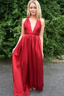 Red A-Line V-Neck Back Twist Satin Bridesmaid Dress