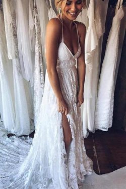 Backless Beach Wedding Dress